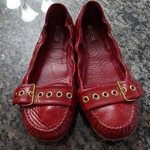 Miu Miu red patent leather flats Sz 39